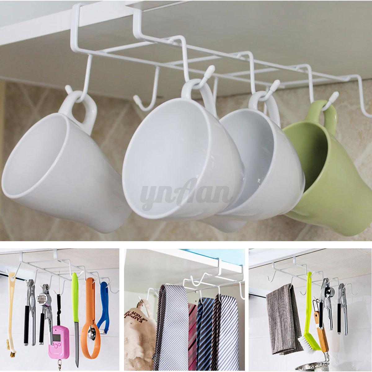 under cabinet shelf mug cups storage rack metal holder. Black Bedroom Furniture Sets. Home Design Ideas