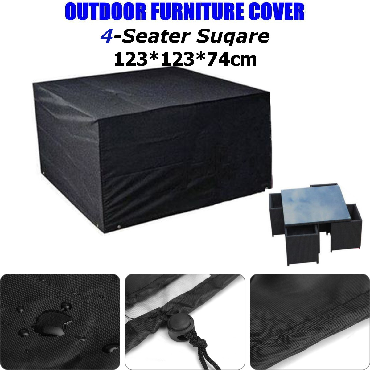 4 Seater Waterproof Outdoor Polyester Table Chair Patio Furniture Rain Cover