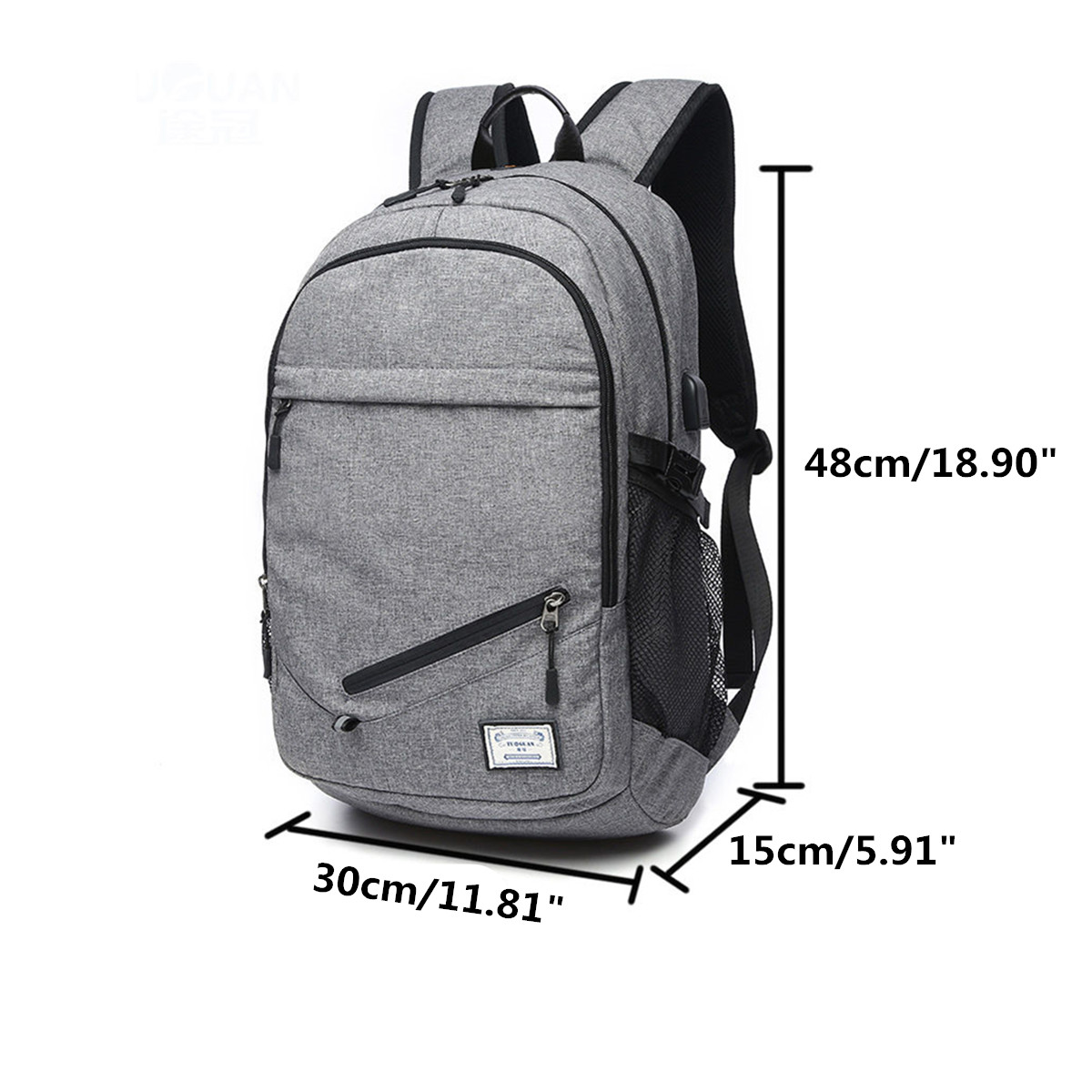 2019-Men-039-s-Basketball-Net-Laptop-Backpack-Bag-with-USB-Charging-Sport-Black-Grey