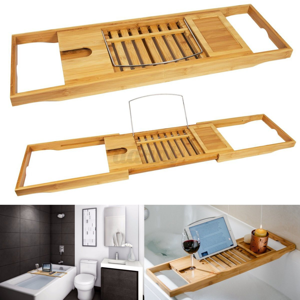 Bathtub Rack Bamboo Shelf Shower Tub Book Reading Tray Holder Stand ...