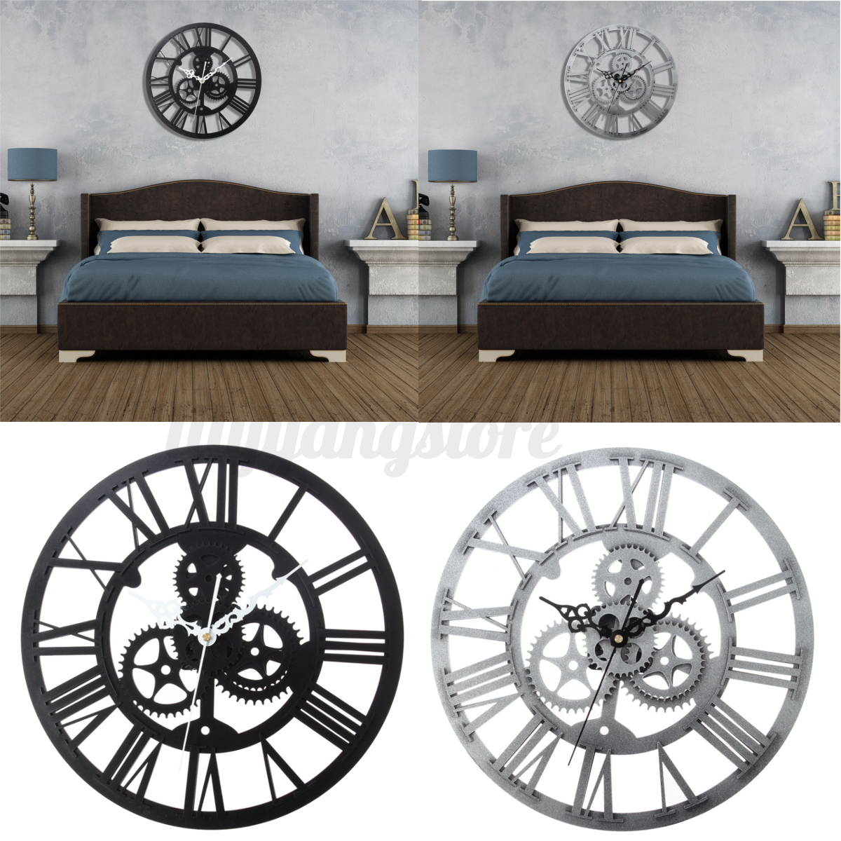 Modern Clock Large Round Black Silver Wall Vintage Home