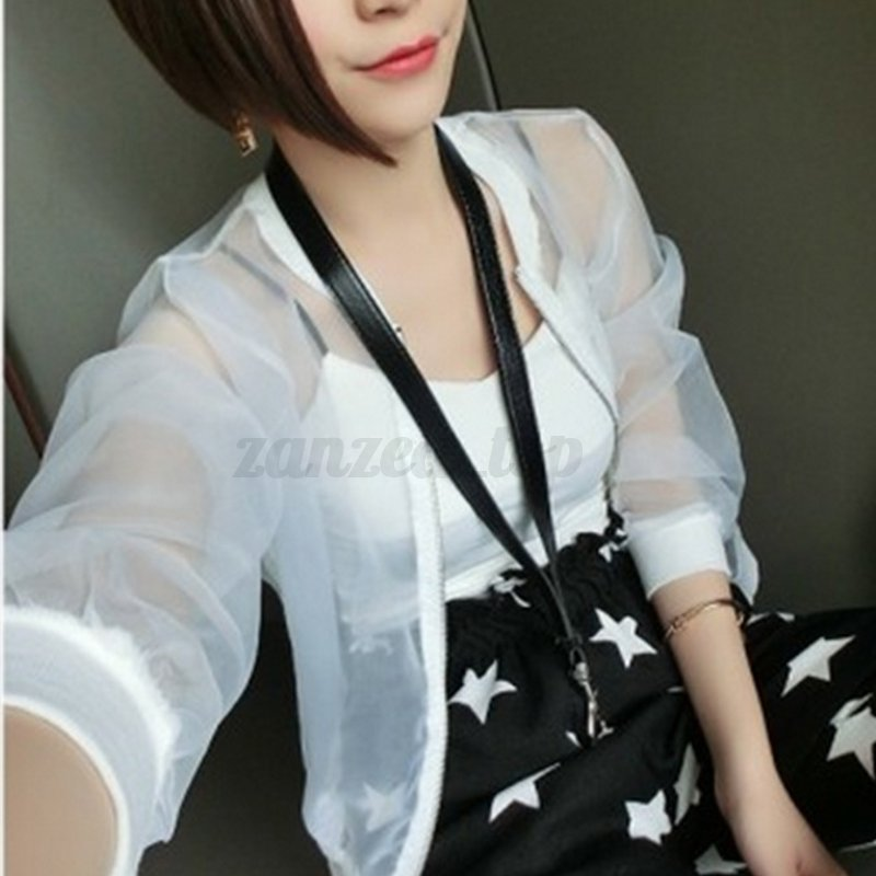 Womens Perspective Sunscreen Casual Baseball Jacket Fashion Coat Zip Tops Blouse