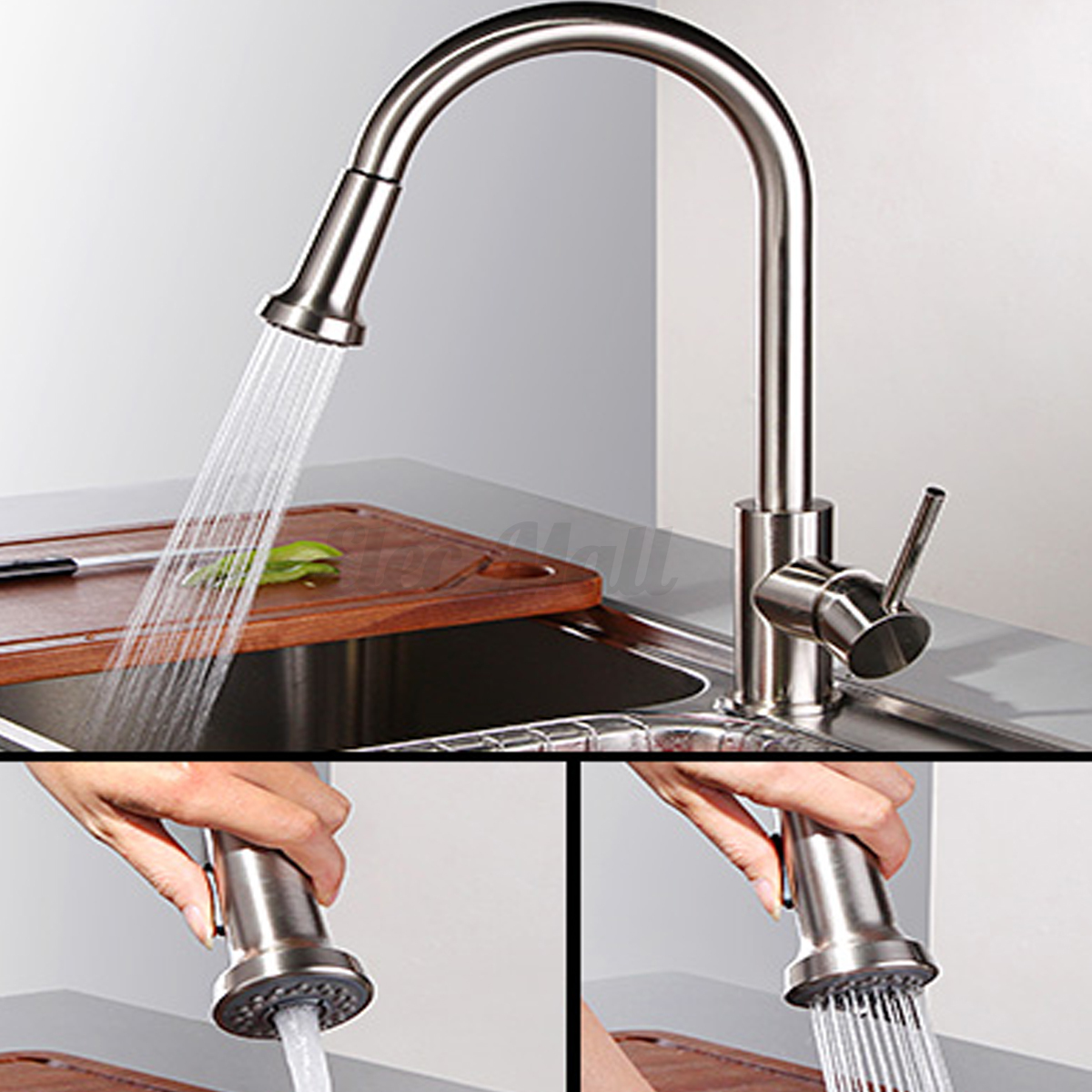 Nickel steel replacement sink faucet pull down spray water shower head kitchen ebay - Shower head for kitchen sink ...