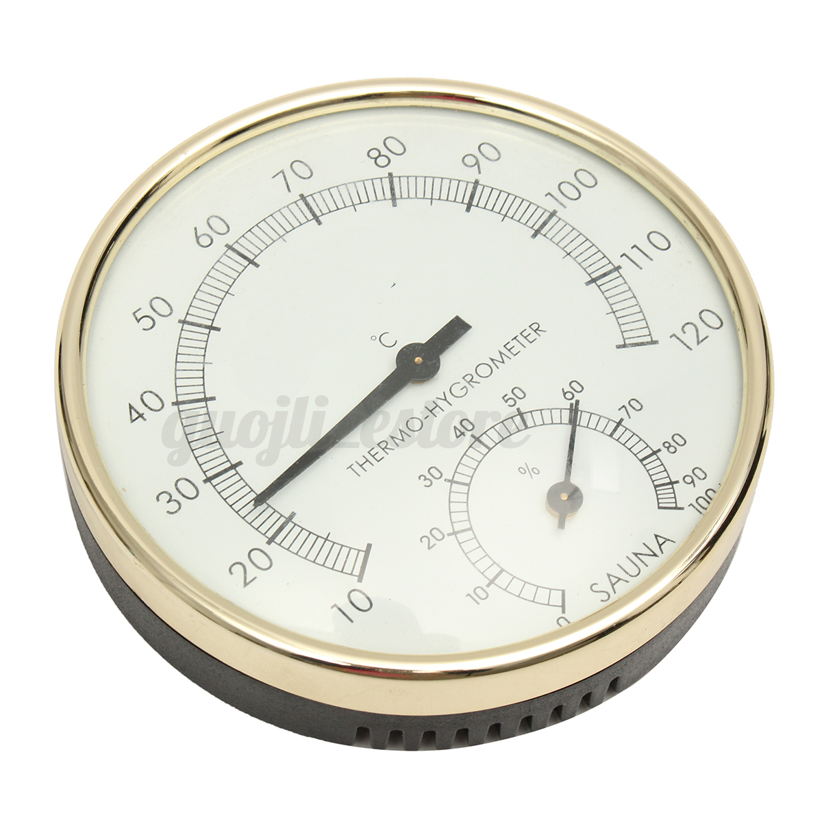 0 c 120 c 100 rh stainless steel gold edge sauna room thermometer hygrometer ebay. Black Bedroom Furniture Sets. Home Design Ideas