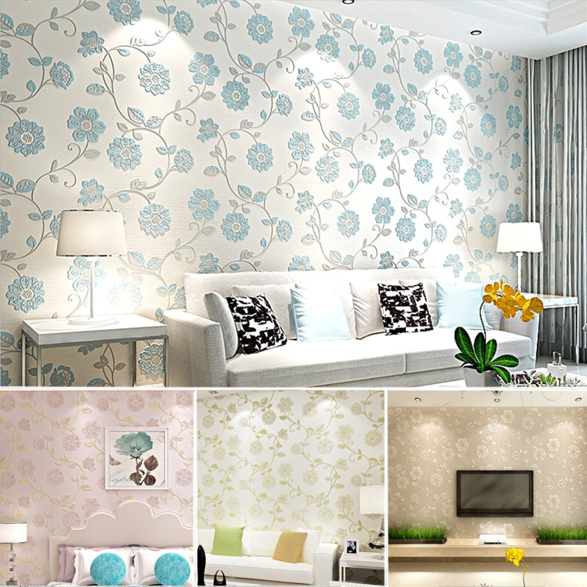 10M Luxury Flower Floral Embossed Textured Home Room Wallpaper Wall ...