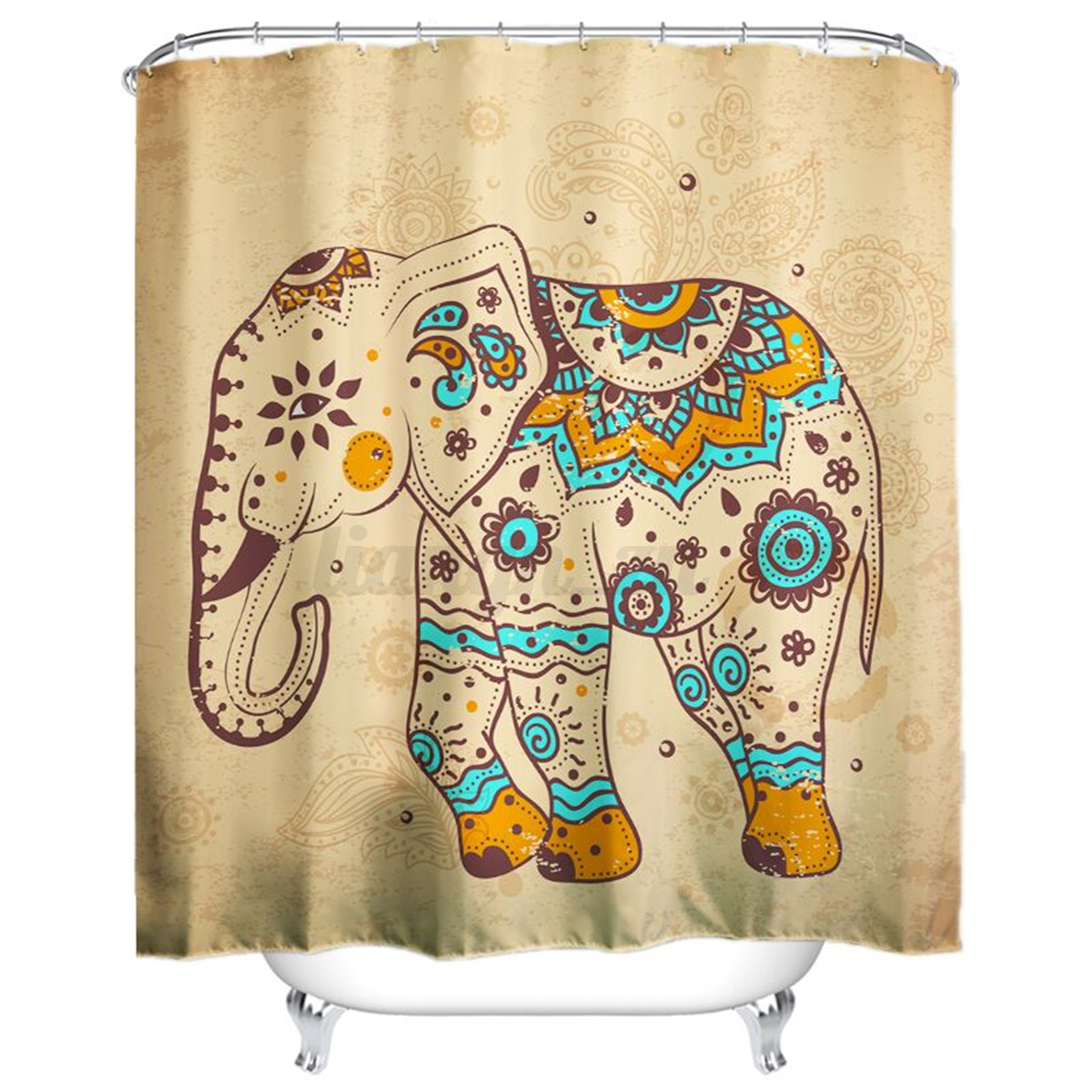 Elephant design polyester shower curtain panel sheer for Elephant bathroom accessories