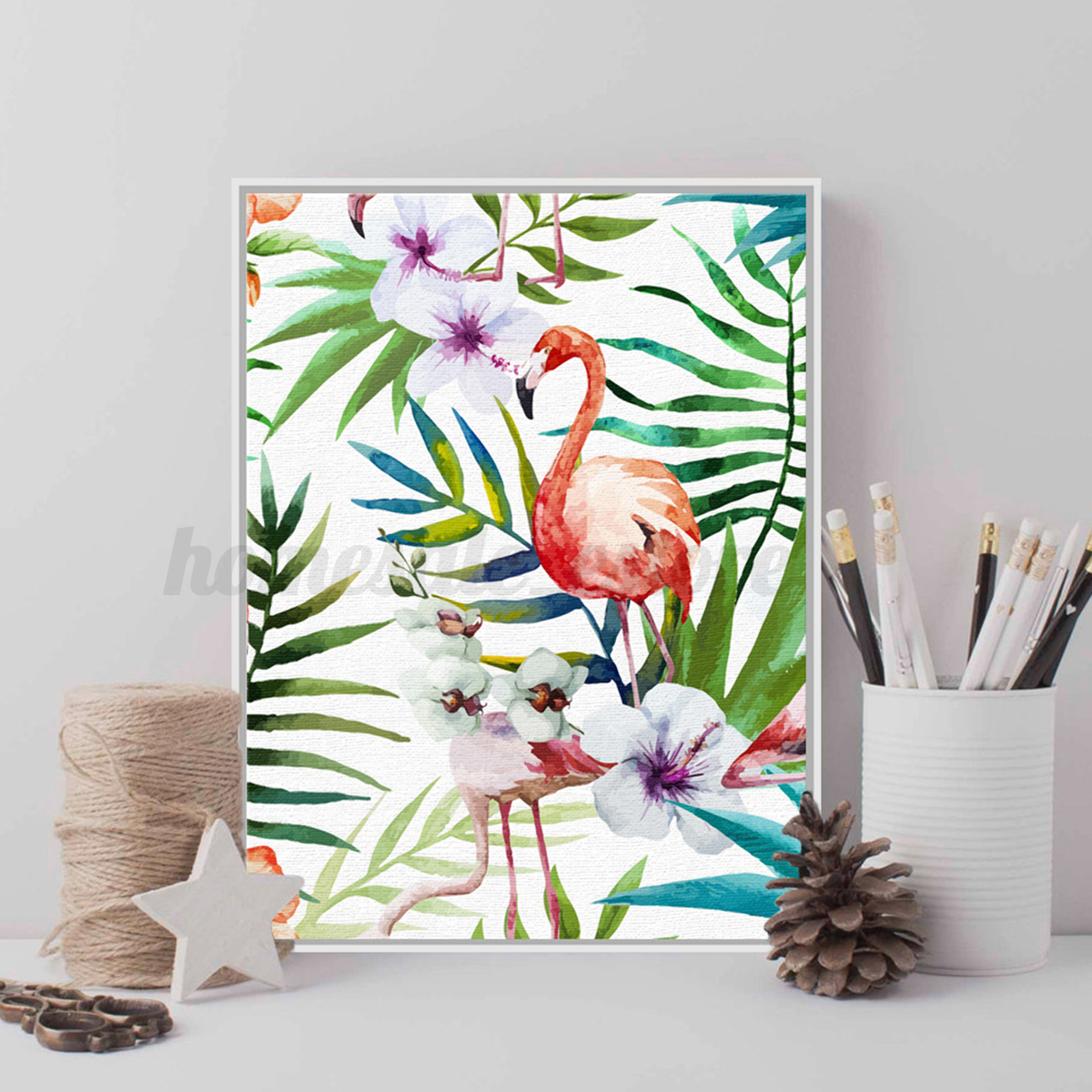 Modern Vogue Flamingo Art On Canvas Watercolor Painting Wall Decor ...