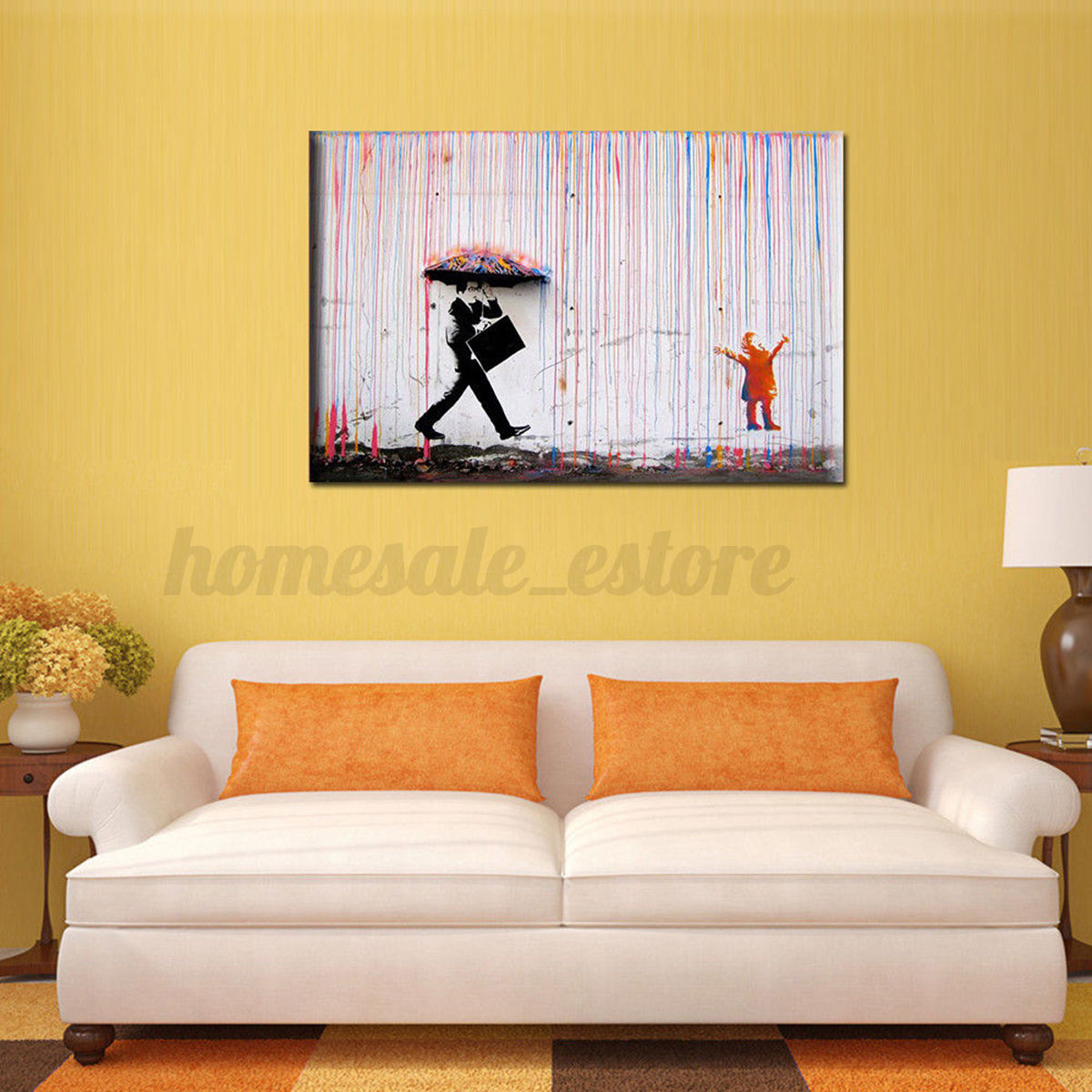 Modern Abstract Flamingo Zen Art Canvas Watercolor Painting Wall ...