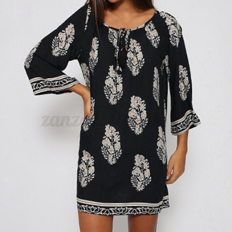 Women-Summer-Plus-Size-Floral-Boho-Beach-Party-Club-Tunic-Top-Short-Mini-Dress