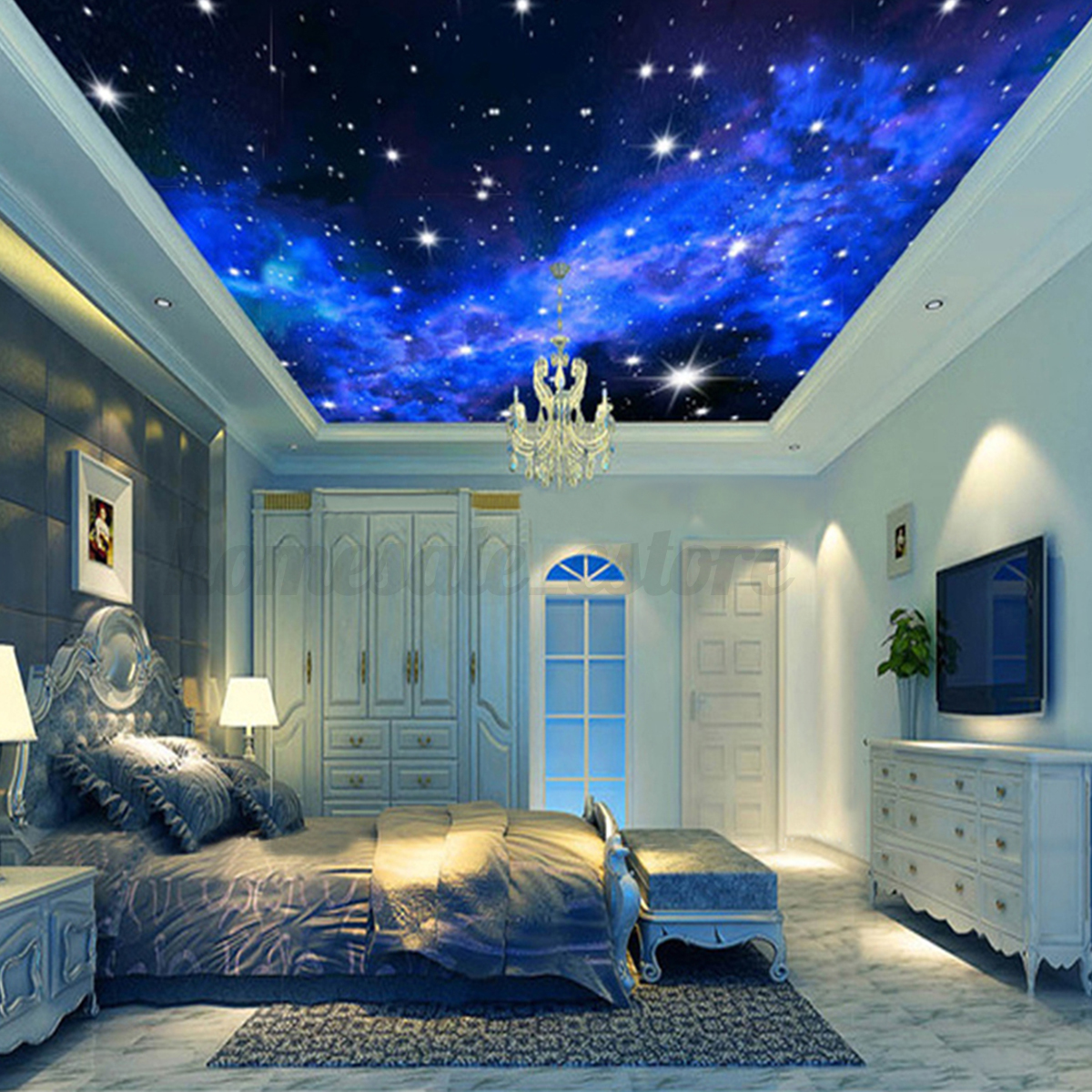 Modern 3D Night Clouds Star Wallpaper Bedroom Living Mural ...