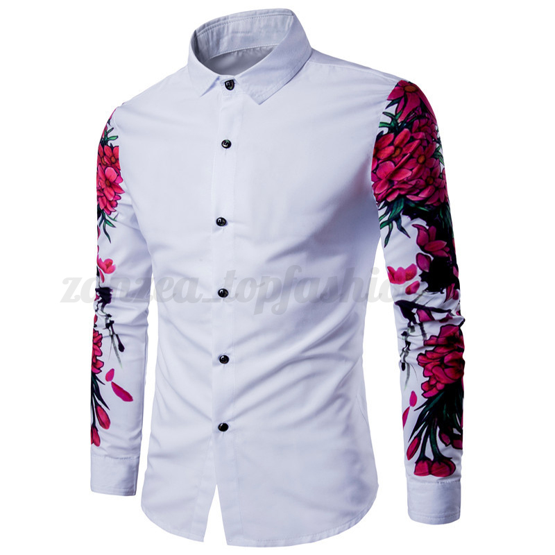 Stylish Mens Casual Shirt Long Sleeve Slim Fit Print Dress