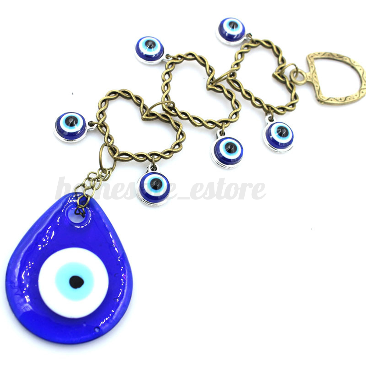 Turkish Blue Glass Evil Eye Hamsa Hand Amulet Wall Hanging