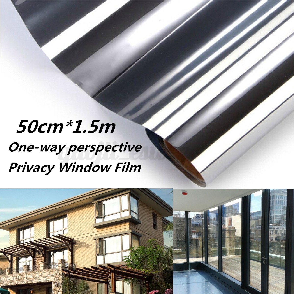 150x50cm reflective silver one way window film privacy sticky glass foil mirror ebay. Black Bedroom Furniture Sets. Home Design Ideas