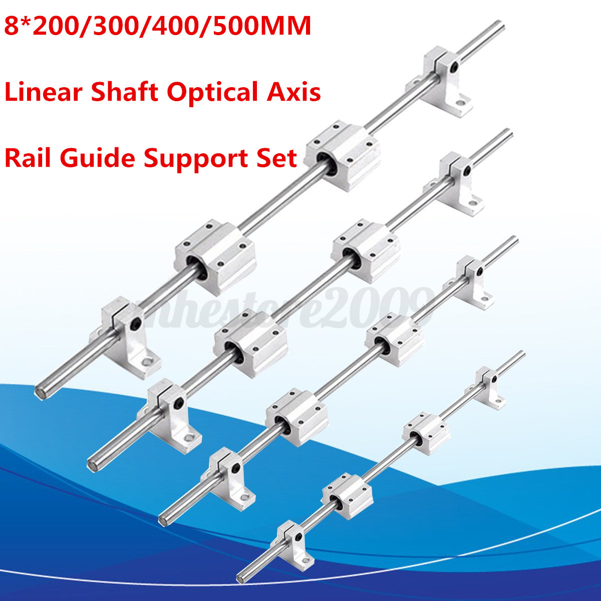 8mm Linear Rail Shaft Optical Axis Guide Rod W// Bearing Block Support 20//30//50cm