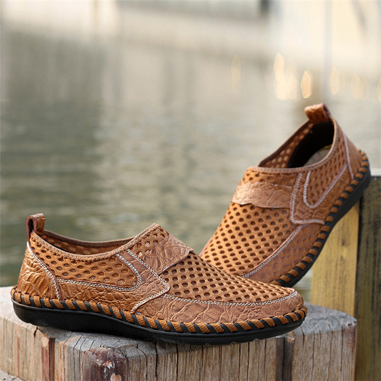 Men-039-s-Driving-Slip-on-Loafers-Leather-Summer-Breathable-Mesh-Casual thumbnail 6