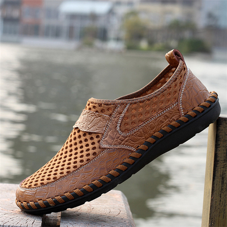 Men-039-s-Driving-Slip-on-Loafers-Leather-Summer-Breathable-Mesh-Casual thumbnail 10