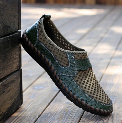 Men-039-s-Driving-Slip-on-Loafers-Leather-Summer-Breathable-Mesh-Casual thumbnail 3