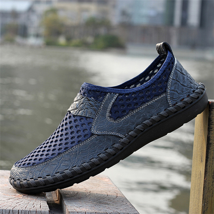 Men-039-s-Driving-Slip-on-Loafers-Leather-Summer-Breathable-Mesh-Casual