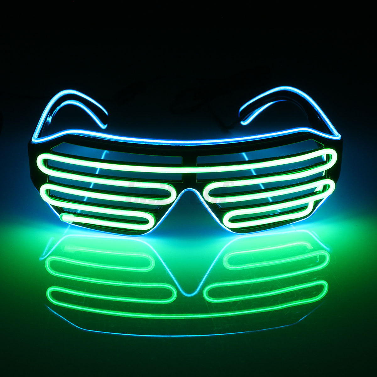 Neon El Wire LED Light Up Double Shutter Glasses Glow Rave Party ...