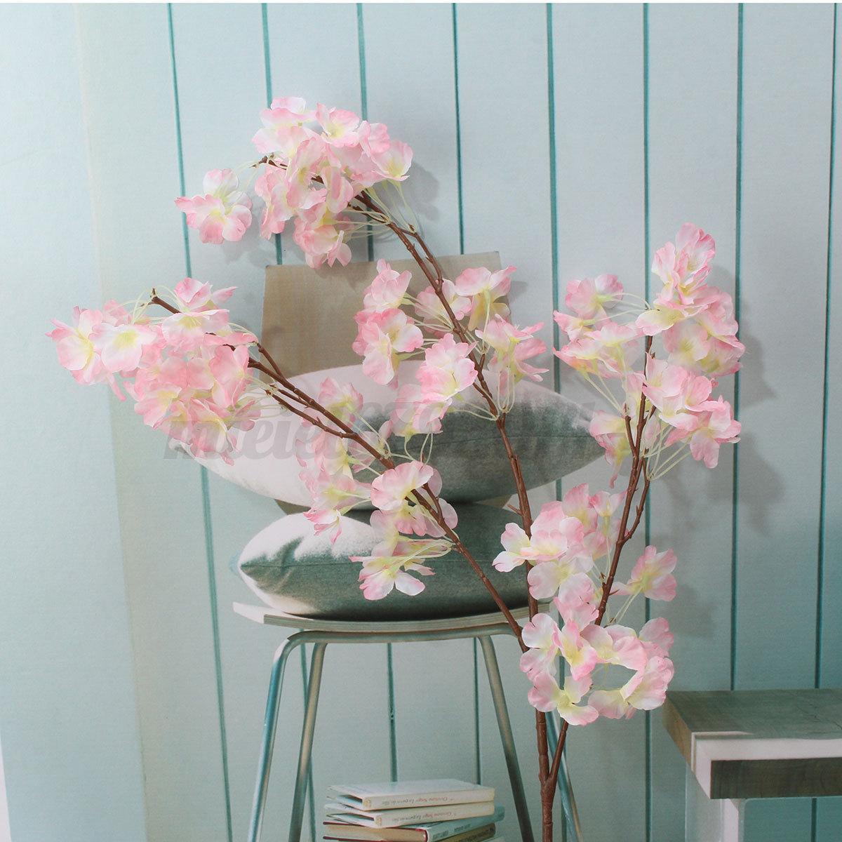1 Stem 3 Branchs Artificial Plum Peach Cherry Blossom Silk