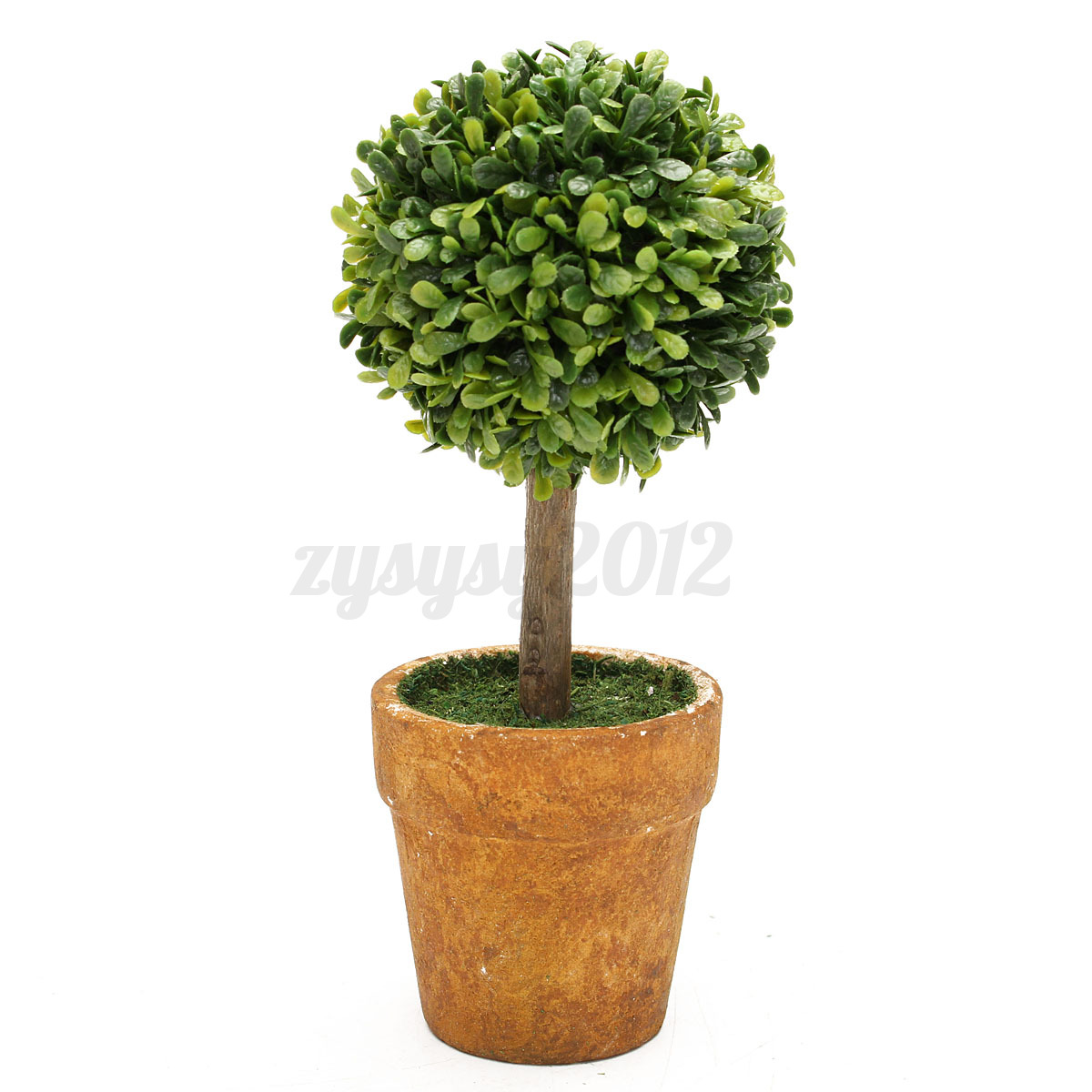 Artificial plastic trees pots plants potted decor garden for Decorating patio with potted plants