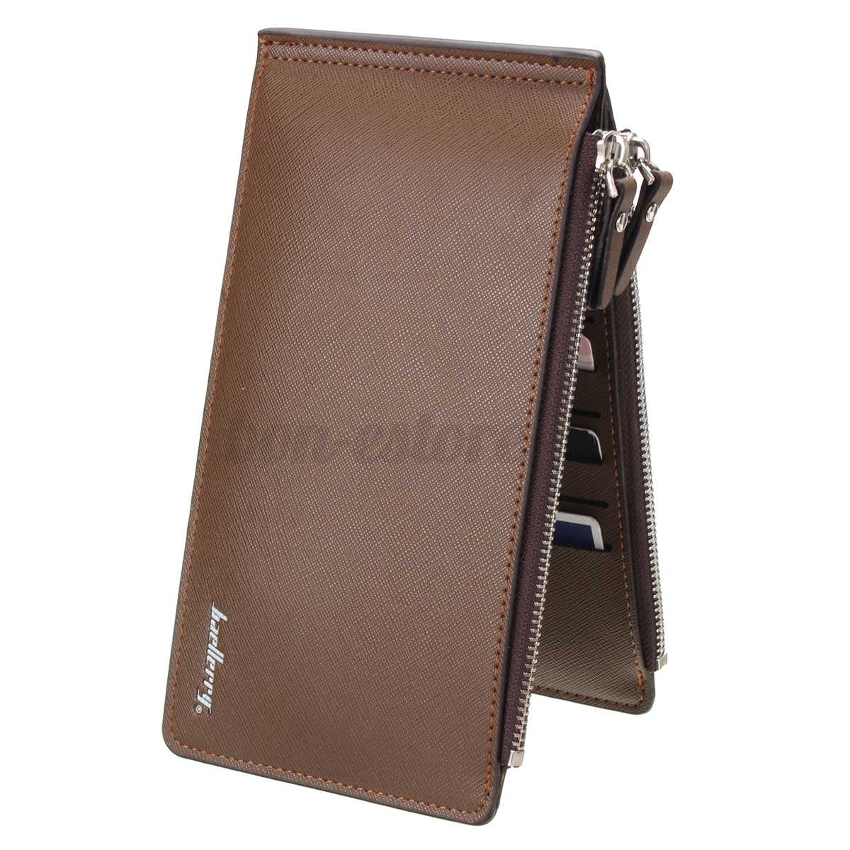 Men Bifold Leather Credit Card Holder Long Style Wallet ...