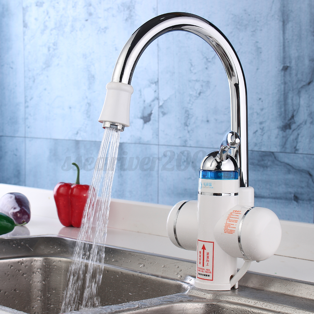 Tankless electric instant hot water heater faucet bathroom for 1 bathroom tankless water heater