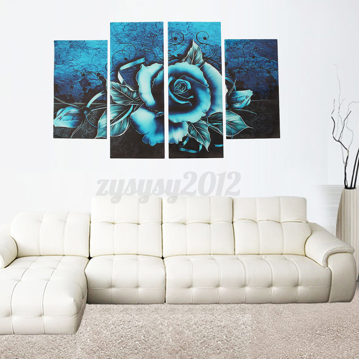 Uk Abstract Floral Flower Teal Rose Canvas Print Wall Art