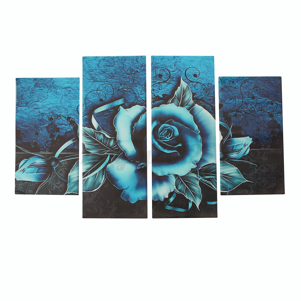 Uk abstract floral flower teal rose canvas print wall art for Teal wall art
