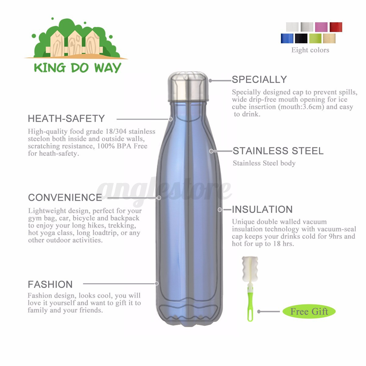 500ML-Stainless-Steel-Double-Wall-Vacuum-Insulated-Bottle-Water-Flask-Sport miniature 3