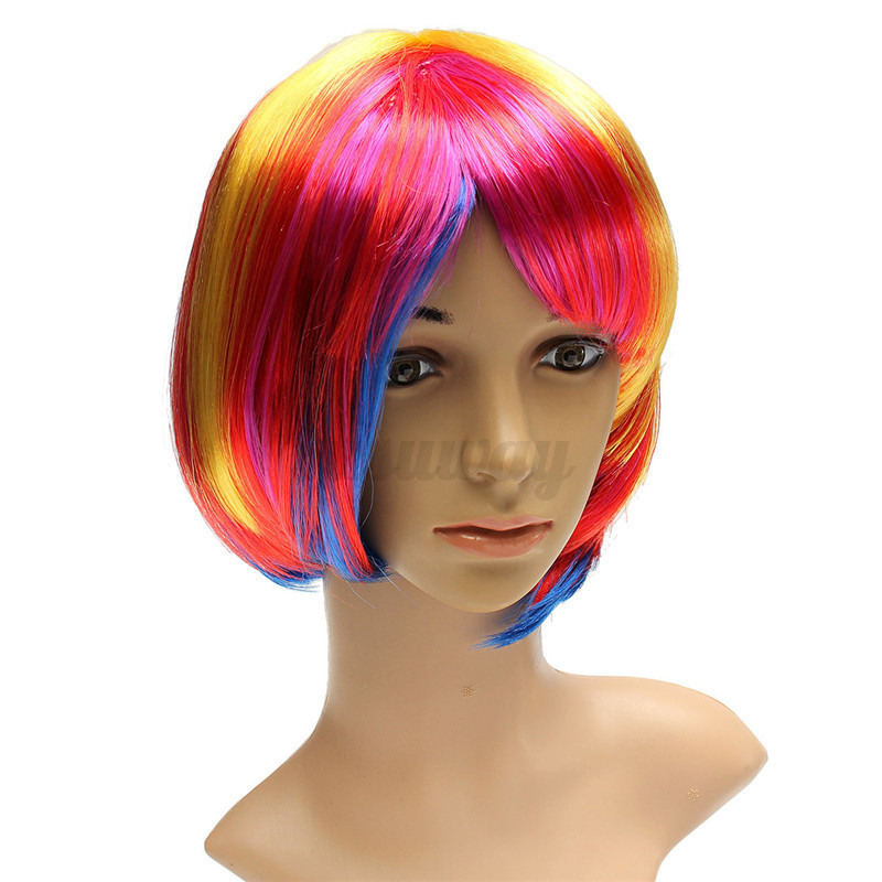 colorful wig natural curly straight wavy cosplay party