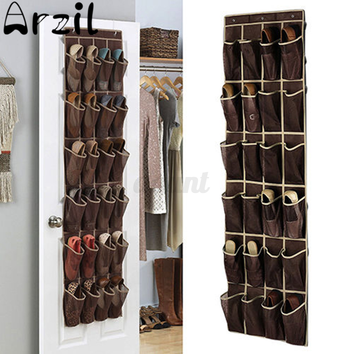 24 Pocket Home Over The Door Hanging Organizer Holder Storage Rack