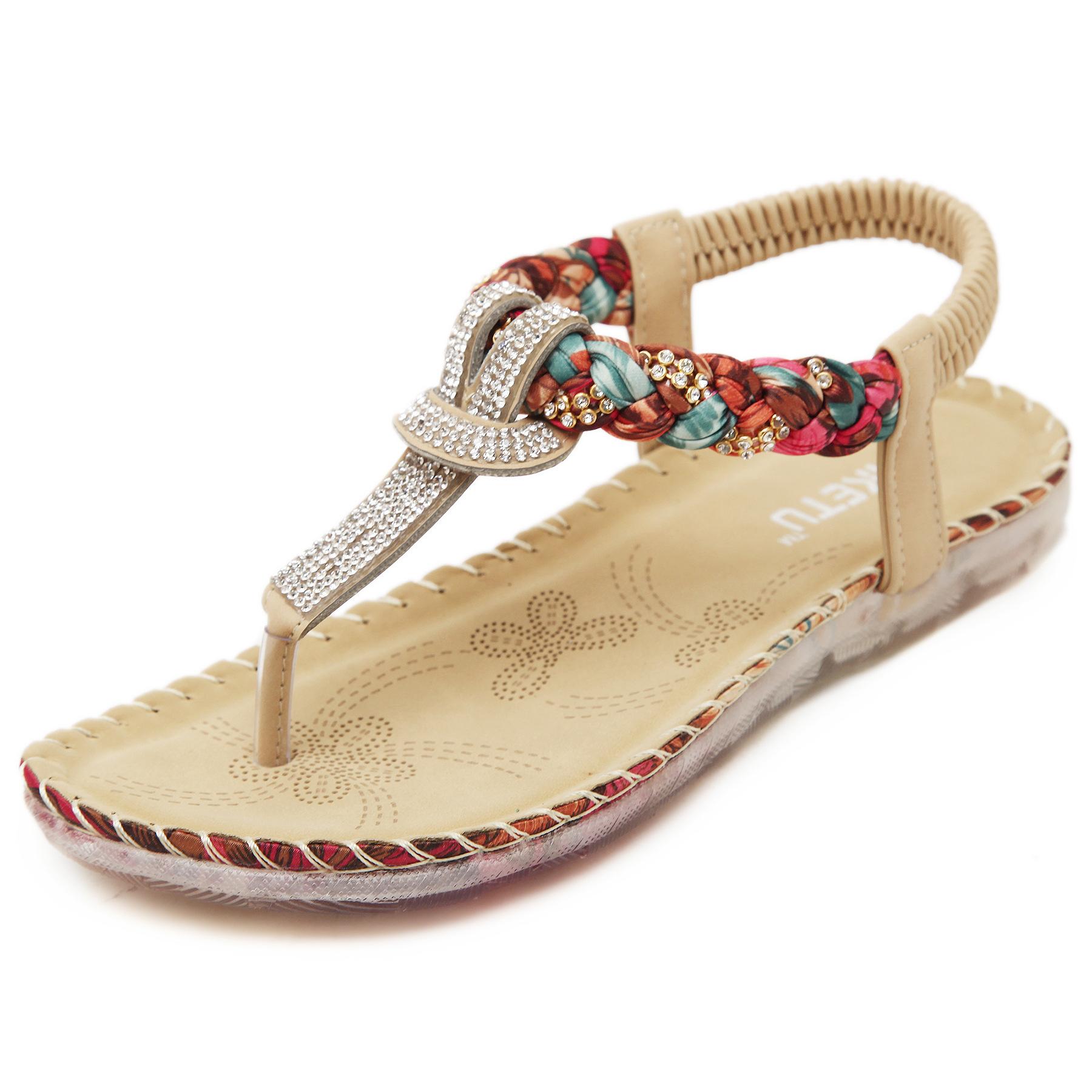 Women Summer Sandals T Strap Shoes Slippers Bohemian Beach