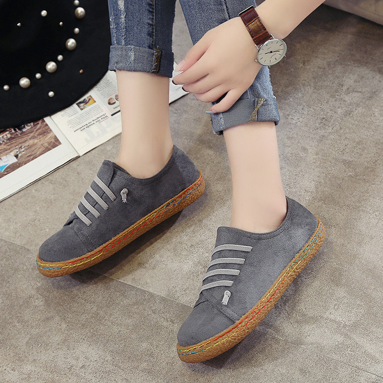Women Suede Slip On Soft Loafers Lazy Casual Flat Shoes Outdoor Moccasins
