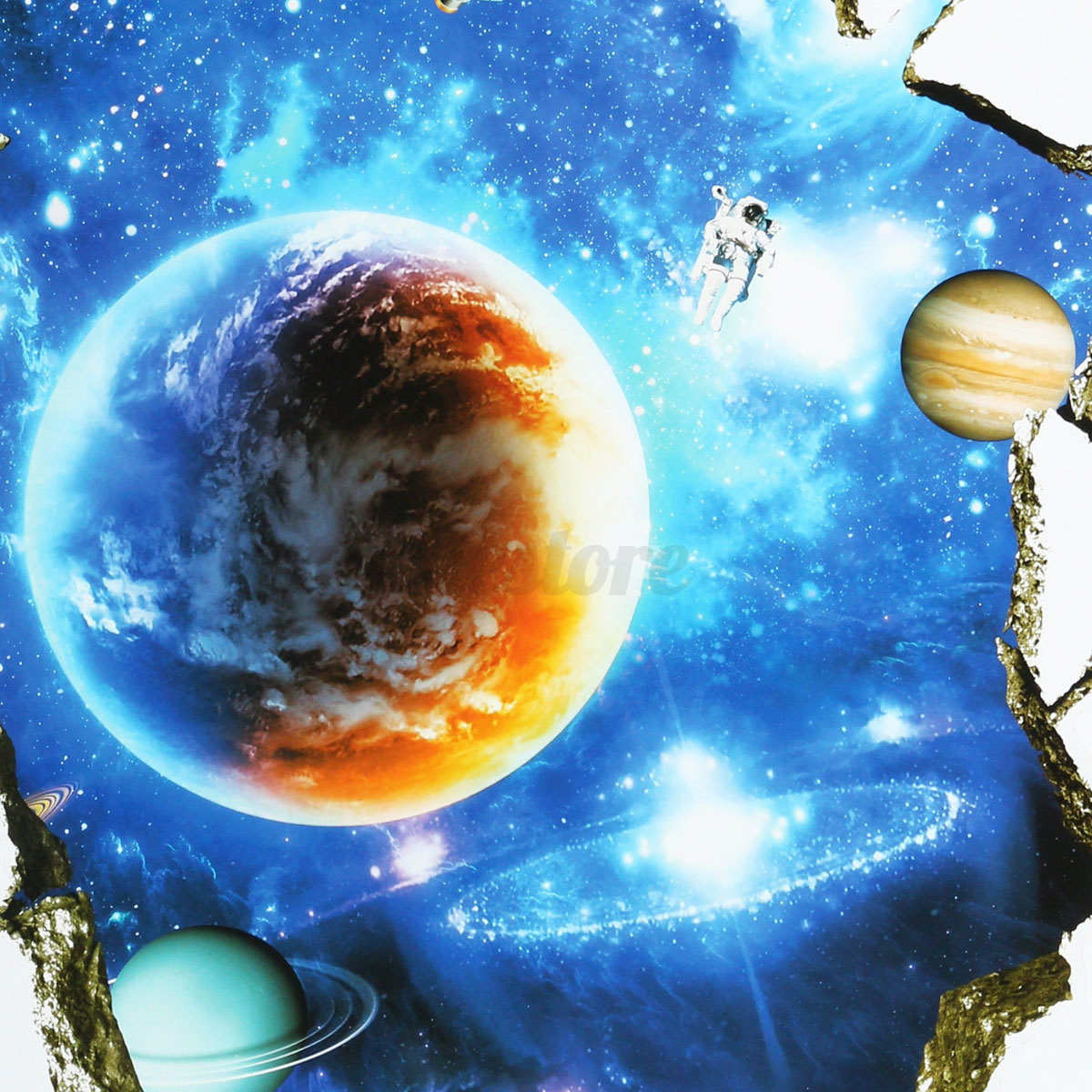 3d planet outer space wall stickers home decor mural art for Decor outer space