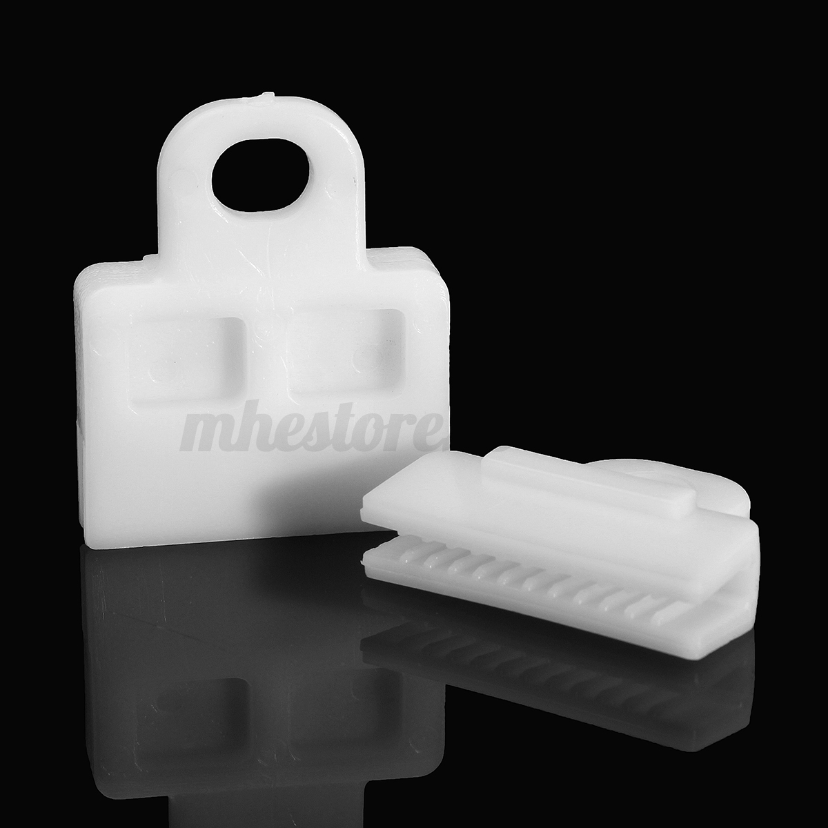 2x White Front Window Door Glass Channel Clips Power