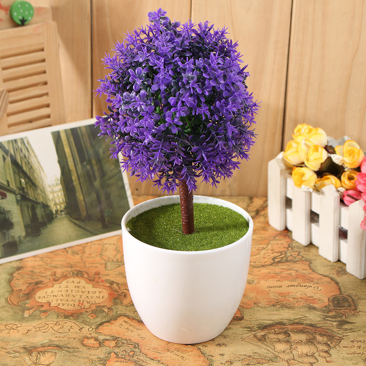 Artificial topiary tree ball plants pot garden home office for Artificial plants indoor decoration
