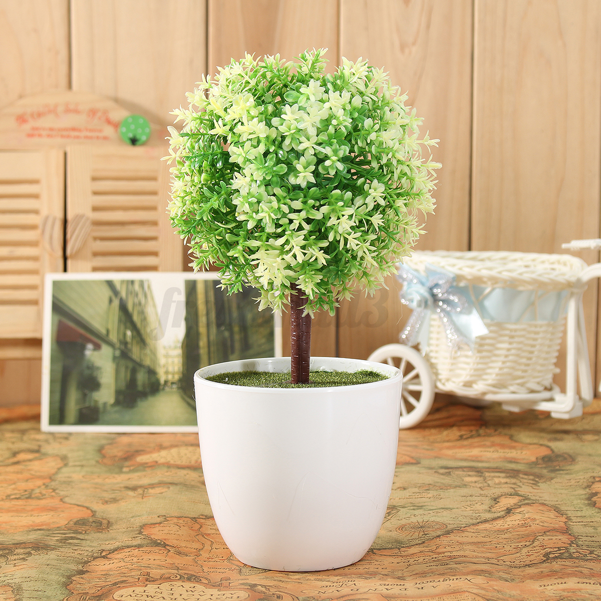 Artificial topiary tree ball plants pot garden home office for Artificial trees for home decoration