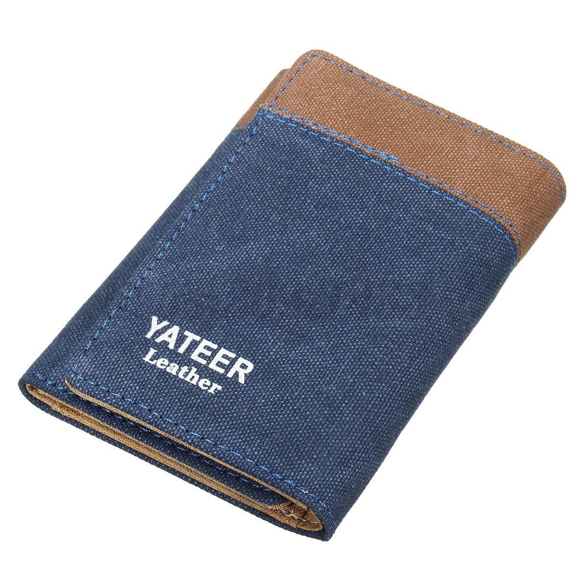 Portefeuille porte monnaie homme pliable toile pu cuir bourse id carte de cr dit ebay - Porte carte de credit homme ...