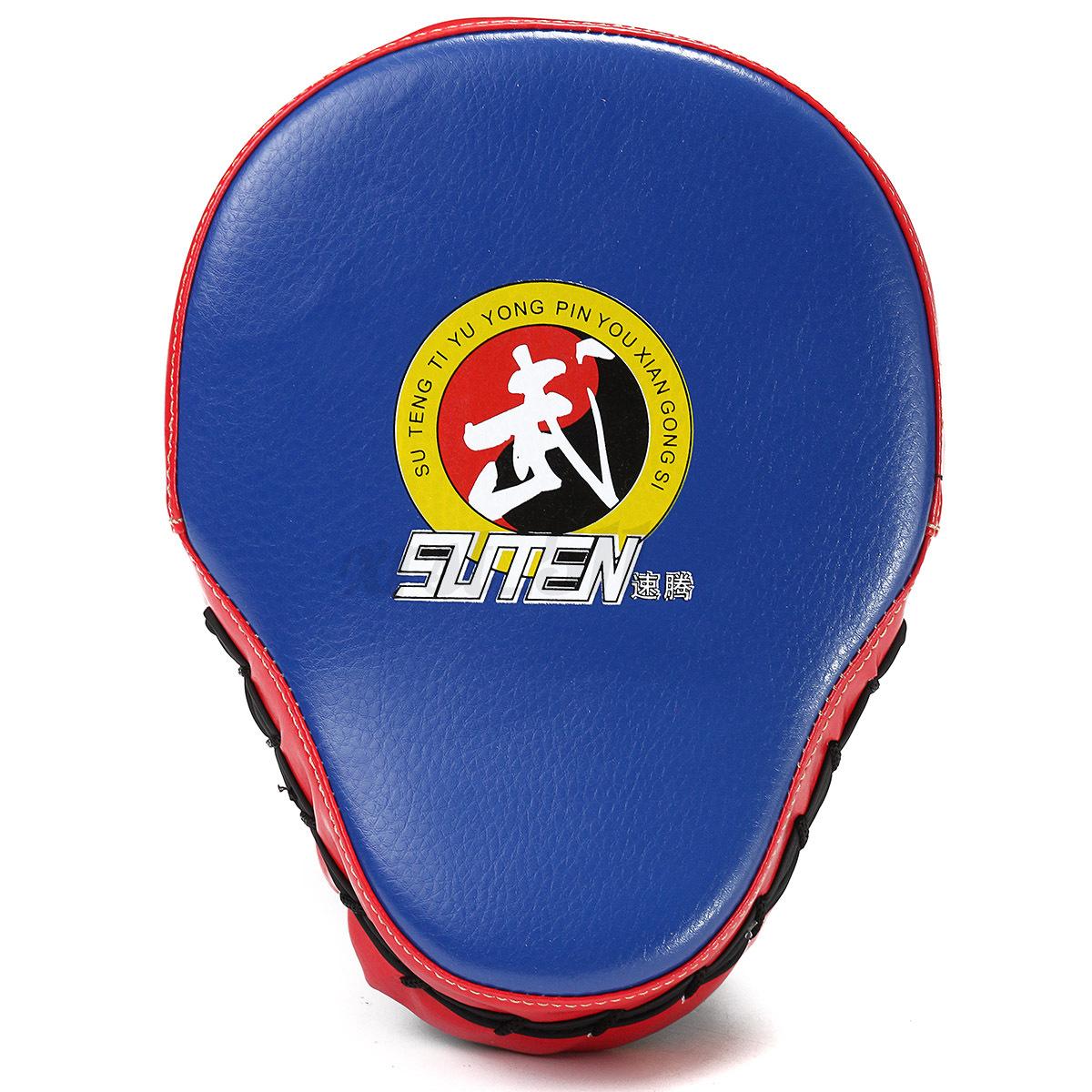 Boxeo-Foco-Guantes-Entrenamiento-Patada-Pad-Escudo-Mano-PU-Cuero-a-Muay-Thai-MMA