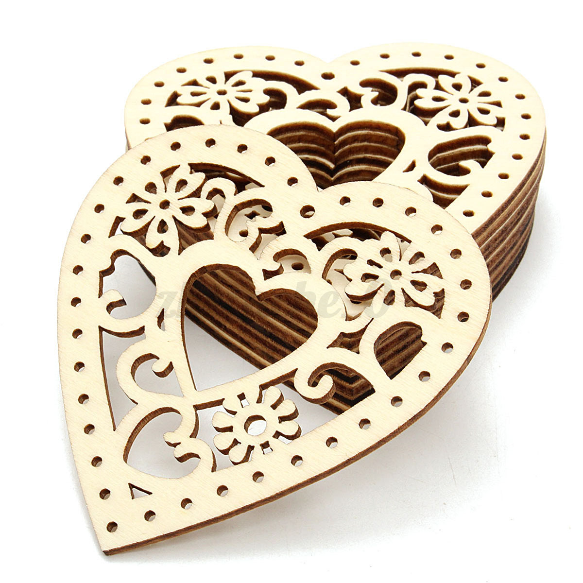 10pcs laser cut natural wooden heart shapes craft for Wooden hearts for crafts