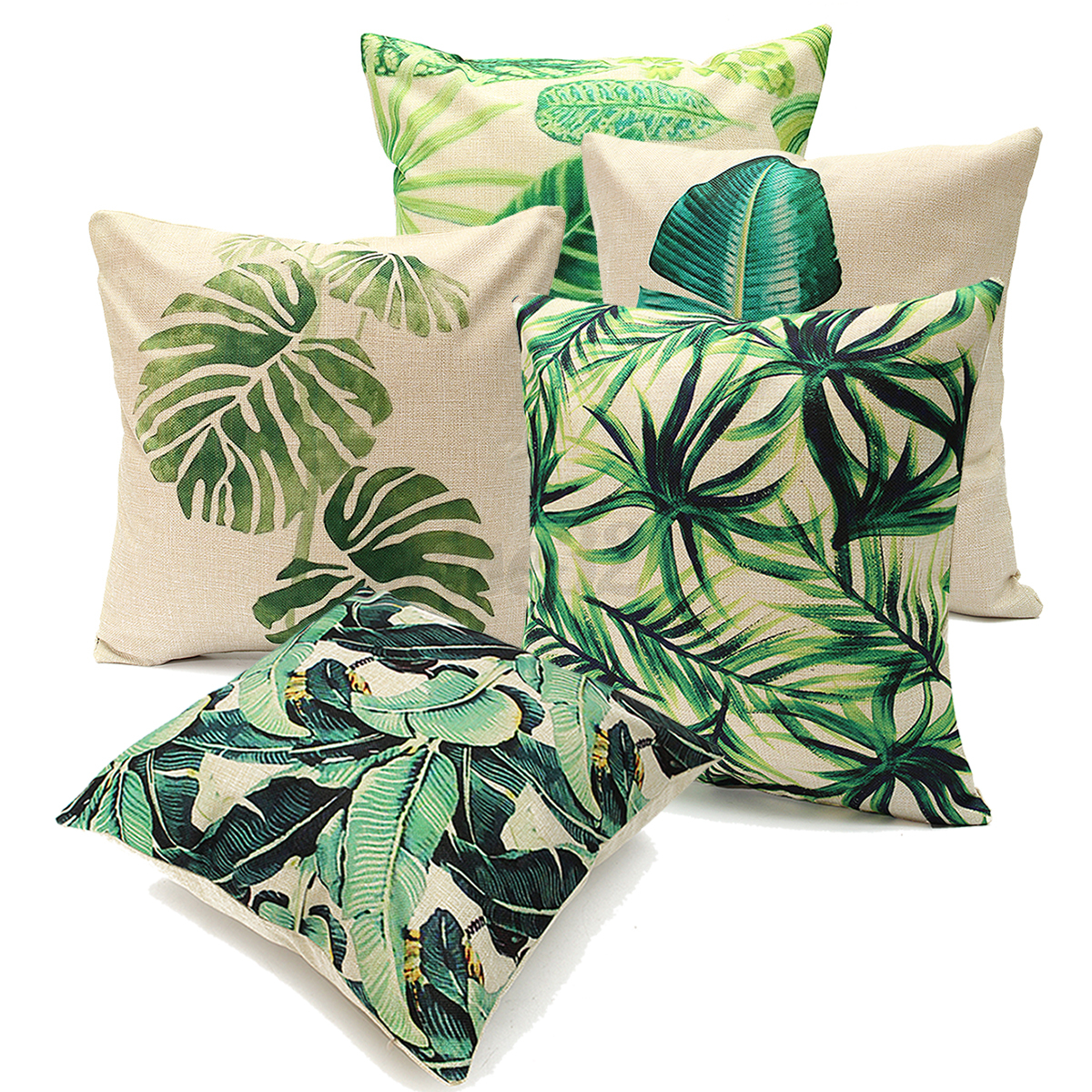 green leaf cotton linen cushion cover throw pillow case. Black Bedroom Furniture Sets. Home Design Ideas