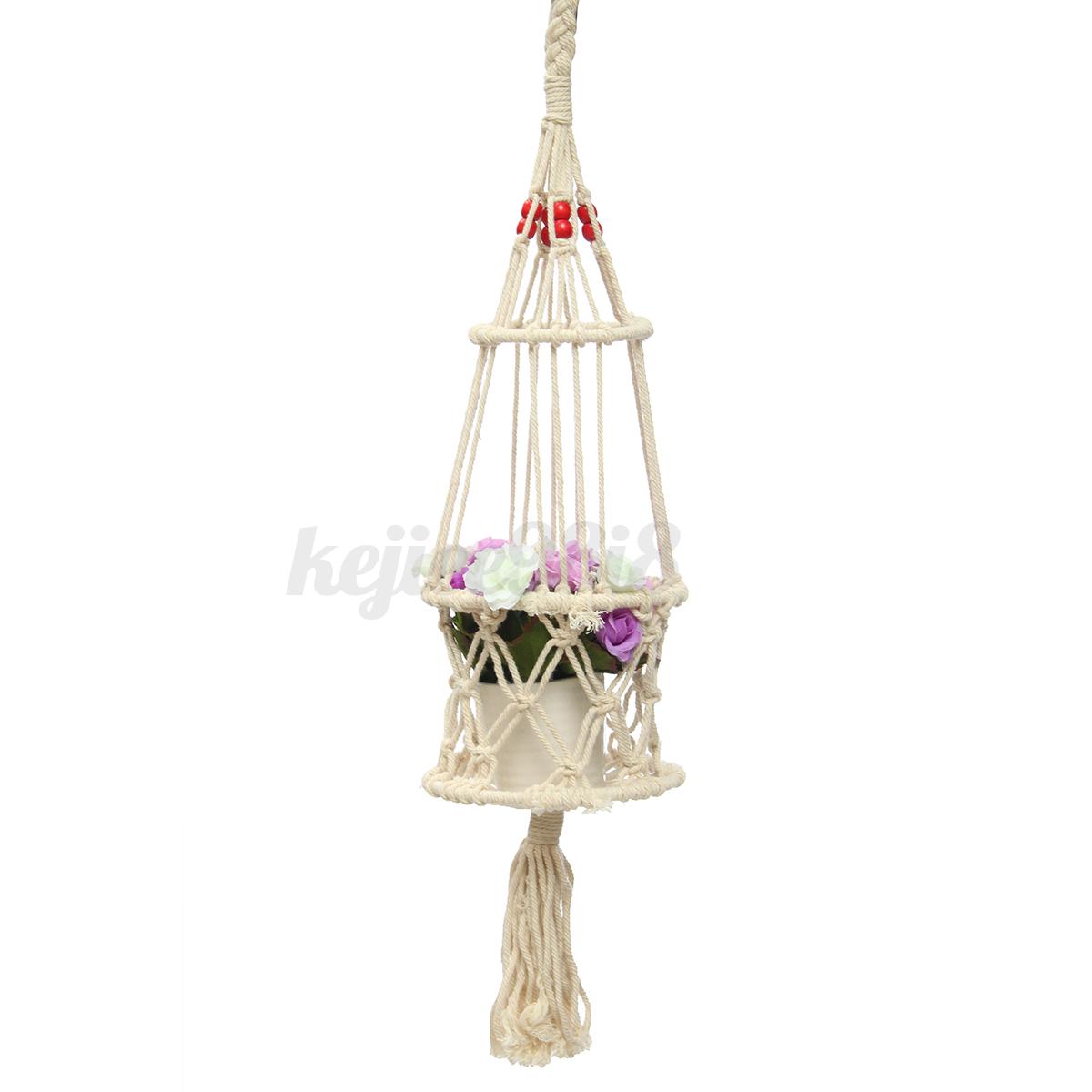 Handmade Jute Baskets : Style handmade jute plant hanger pot holder macrame