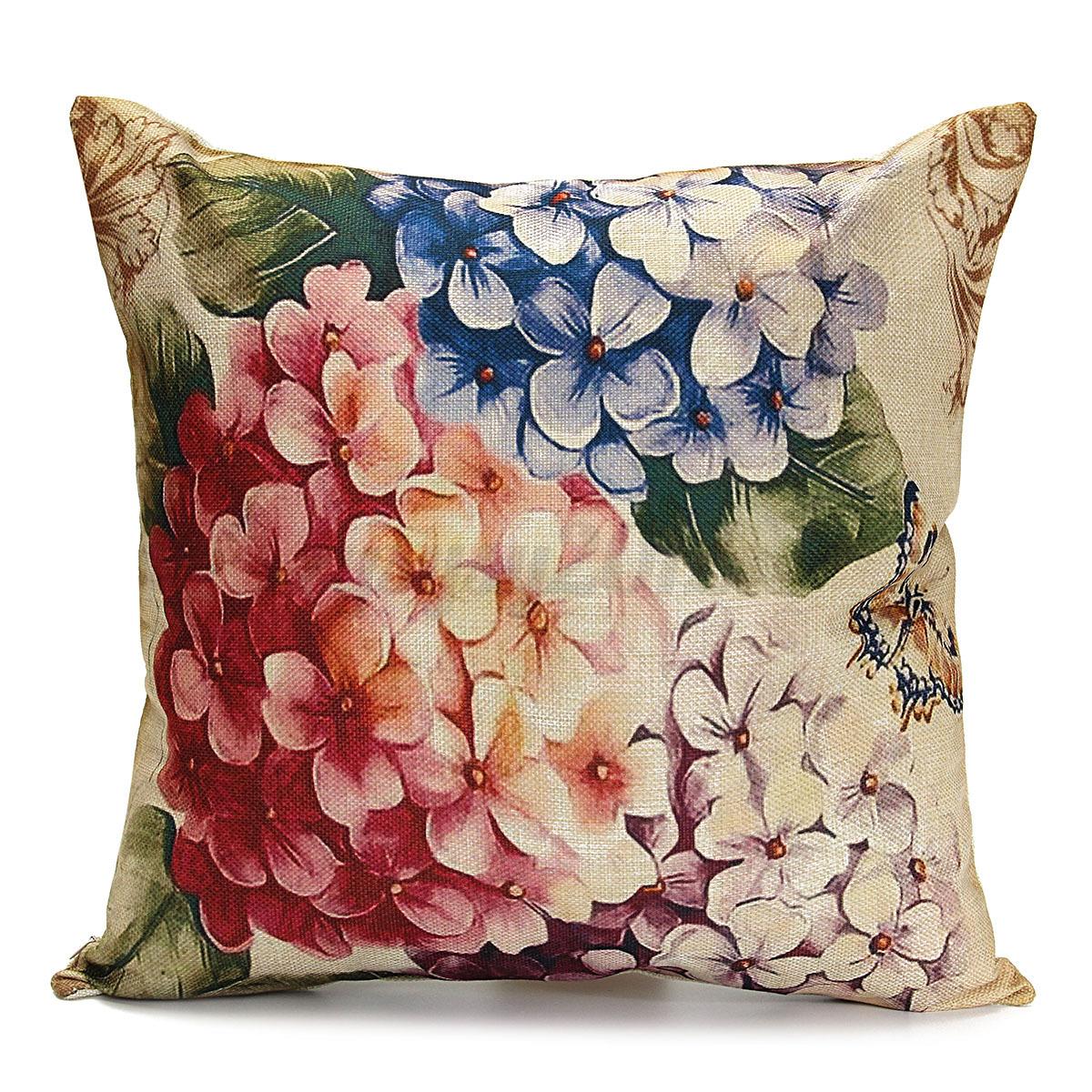Vintage Flower/Vase Pillow Case Decorative Cotton Linen Cushion Cover Home Decor eBay