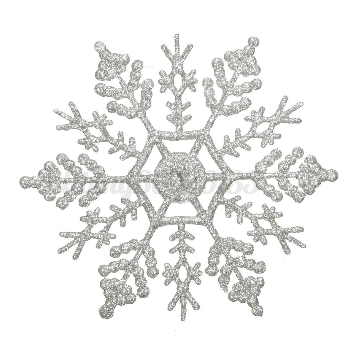 12x glitter schneeflocken snowflakes christbaumschmuck. Black Bedroom Furniture Sets. Home Design Ideas