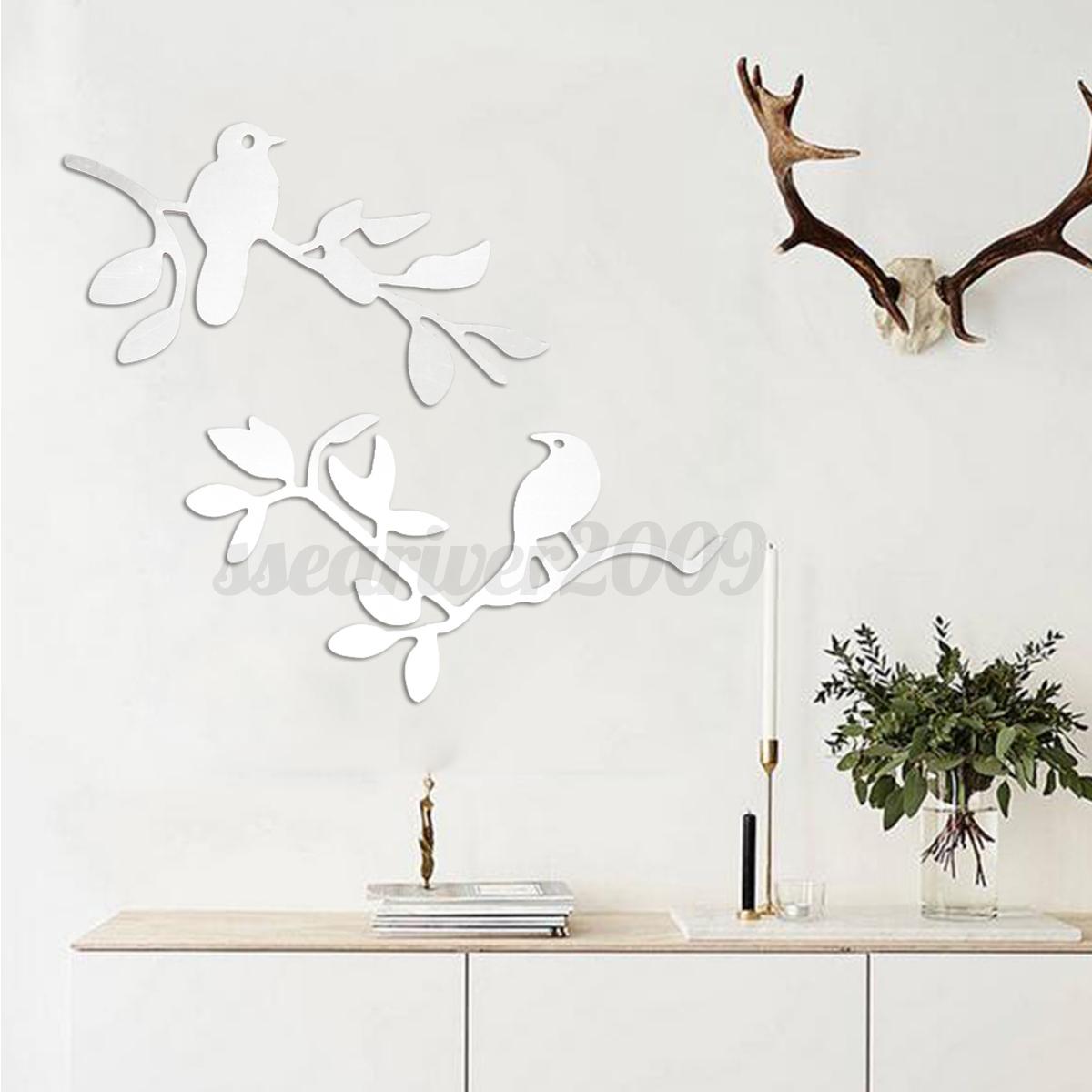 2pcs diy sticker miroir acrylique autocollant oiseaux for Autocollant mural arbre