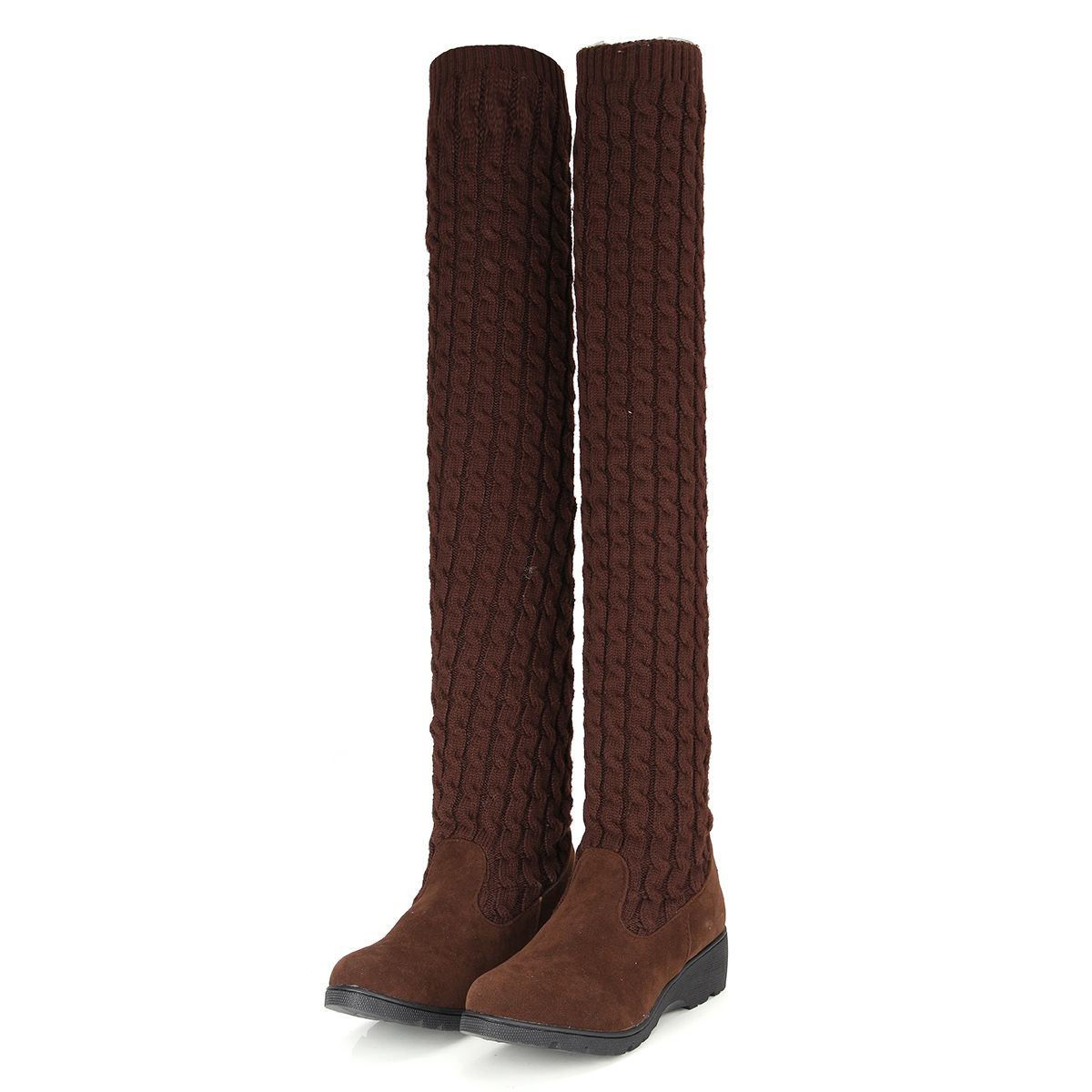 womens knit stretch the knee boots winter warm