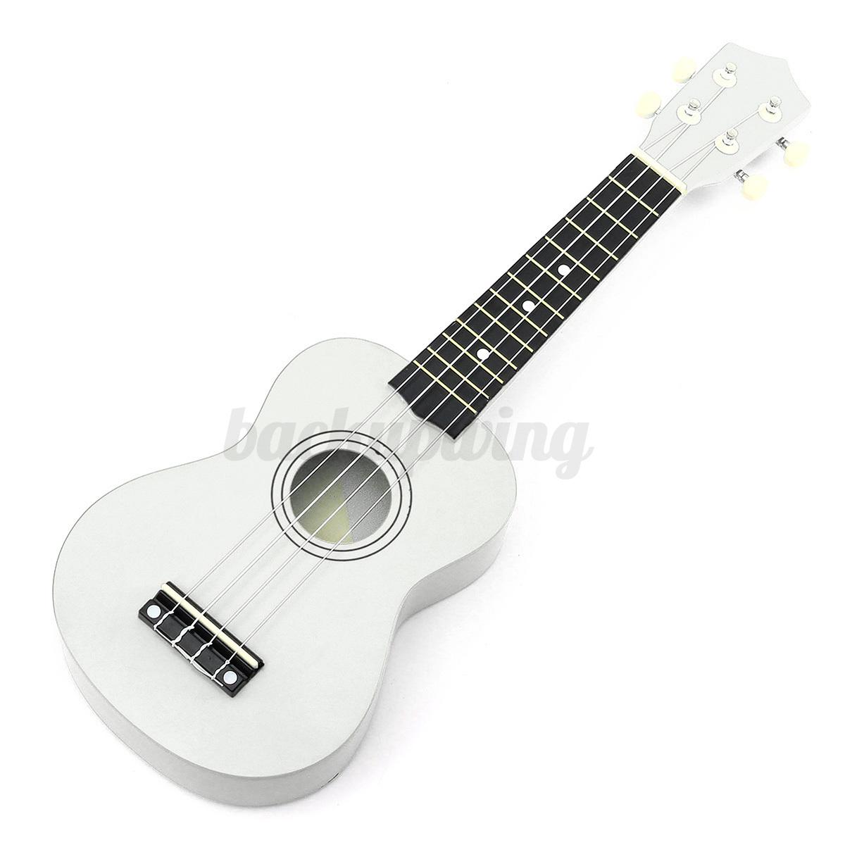 21'' Ukulele Sopran Gitarre Acoustic Guitar 4-String Kinder Geschenk fr Anfänger Weiß