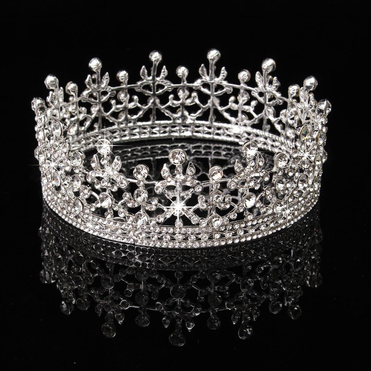 Princess Bridal Rhinestone Crystal Hair Tiara Wedding Crown Veil Headband USA