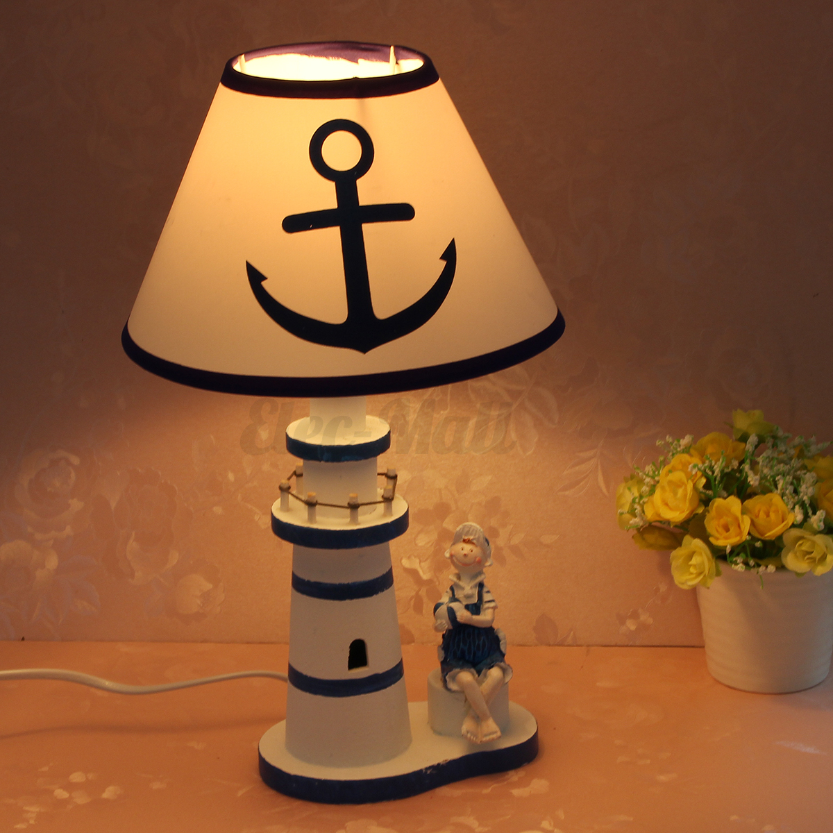 Nautical lighthouse desk lamp bedside decor study light for Bedside decoration